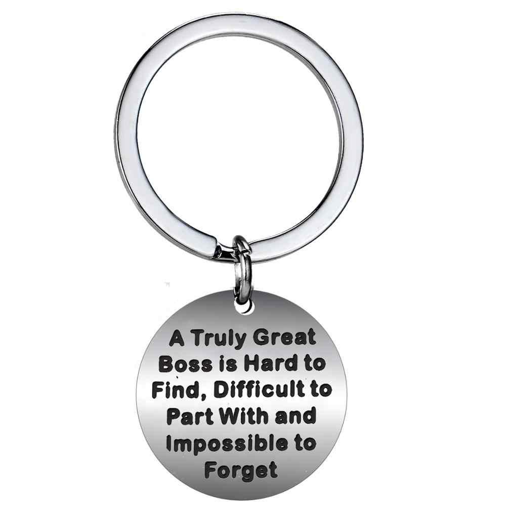 Porte-clés en acier inoxydable collègue retraite patron cadeau porte-clés collègue meilleur ami famille porte-clés pas de Distance vous manquer charme