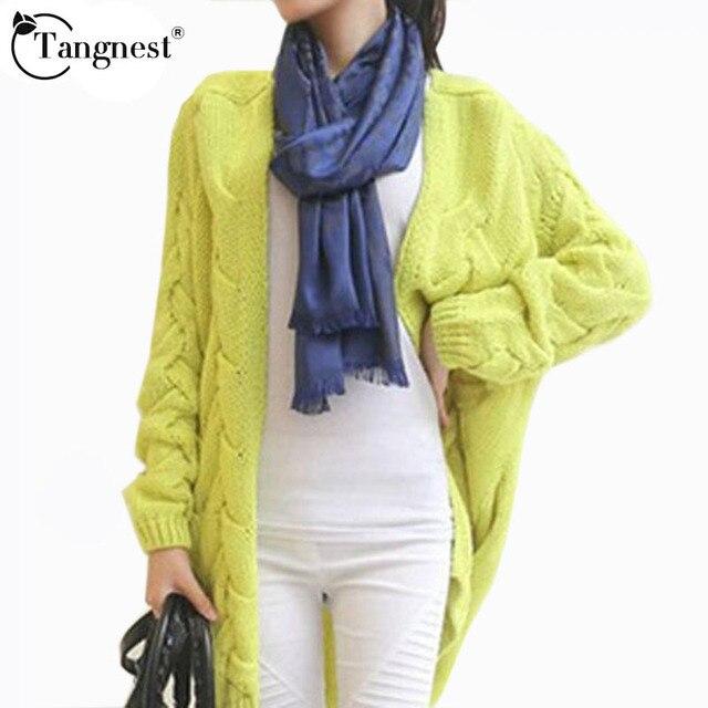 Tangnest blusas 2016 hot sale outono inverno cardigan de malha ocasional das mulheres camisola longa 4 cores doces frete grátis wzl275