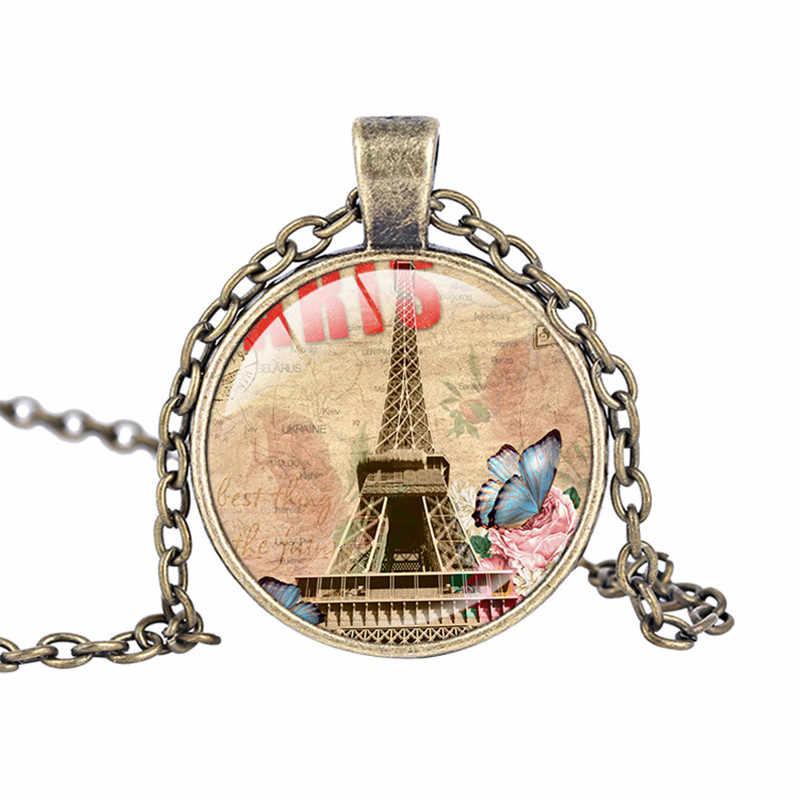 แฟชั่นใหม่แบบตะวันตกวินเทจปารีสหอไอเฟลศิลปะสร้อยคอจี้แก้วเค้นคอเพื่อนที่ดีที่สุดของที่ระลึกc ollares mujer