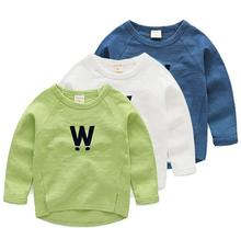 2016 new children 's T – shirt long – sleeved autumn and winter baby solid color bottoming shirt children' s clothing T – shirt