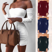 Preself Women Sexy Strapless Long Sleeve Off Shoulder Mini Dress Bodycon Drawsting Clud Lift Up Pleated