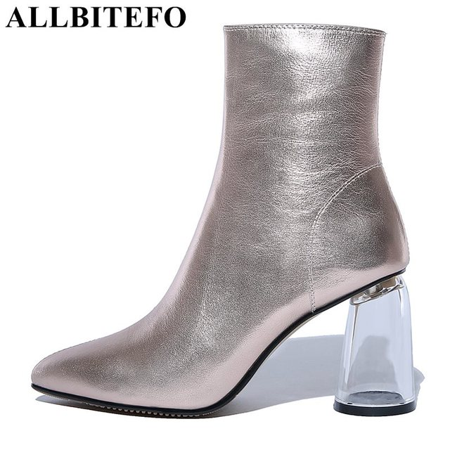 ALLBITEFO Transparent heel thick heel genuine leather pointed toe women boots high heels ankle boots girls boots bota de neve