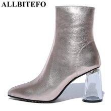 ALLBITEFO talon Transparent talon épais en cuir véritable bout pointu femmes bottes talons hauts bottines filles bottes bota de neve