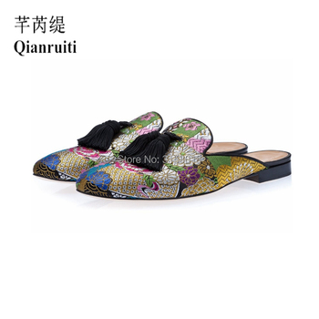 Qianruiti Brand men Multicolor Slippers Summer Men Shoes Men Half Slippers High Quality Men Leather Casual Shoes Loafers