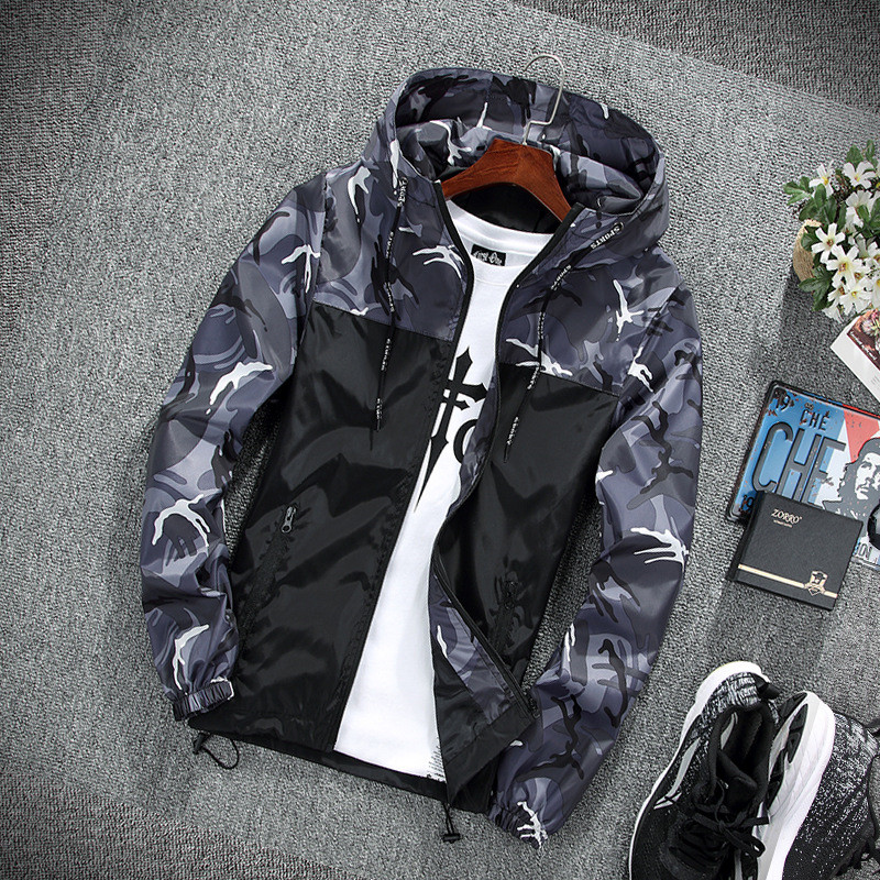 HTB1aW3qn.R1BeNjy0Fmq6z0wVXay 2019 Men's wear casual camouflage jacket. of Slim handsome spring autumn casual solid color large size baseball clothes