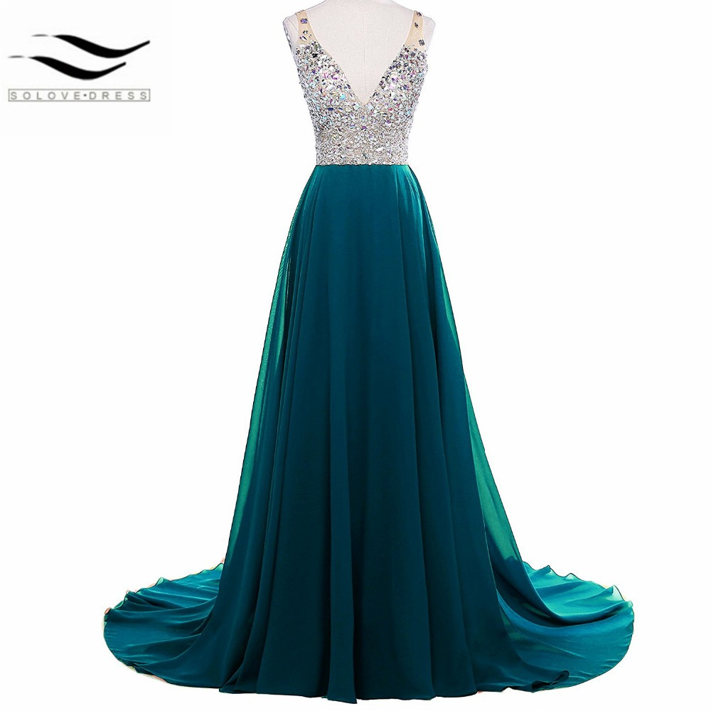 10e782cd6f Fashionable Luxury A-line Sexy Women s Jewelry Deep V-neck Beaded Chiffon  Prom Dress Long Evening Gown for Party