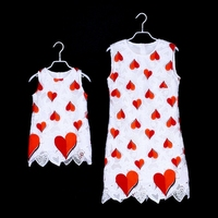2019 Summer LOVE Mama Mother Daughter Dresses lace Baby Mommy and Me Clothes Mama Bear Mother Kids Matches Family Outfits