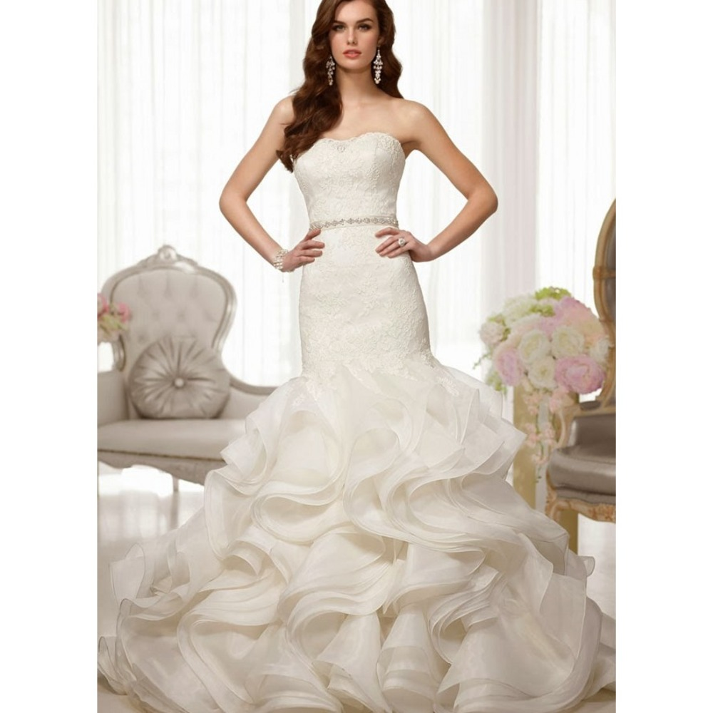 Strapless Lace Wedding Dress with Ruffle Bottom | Dress images