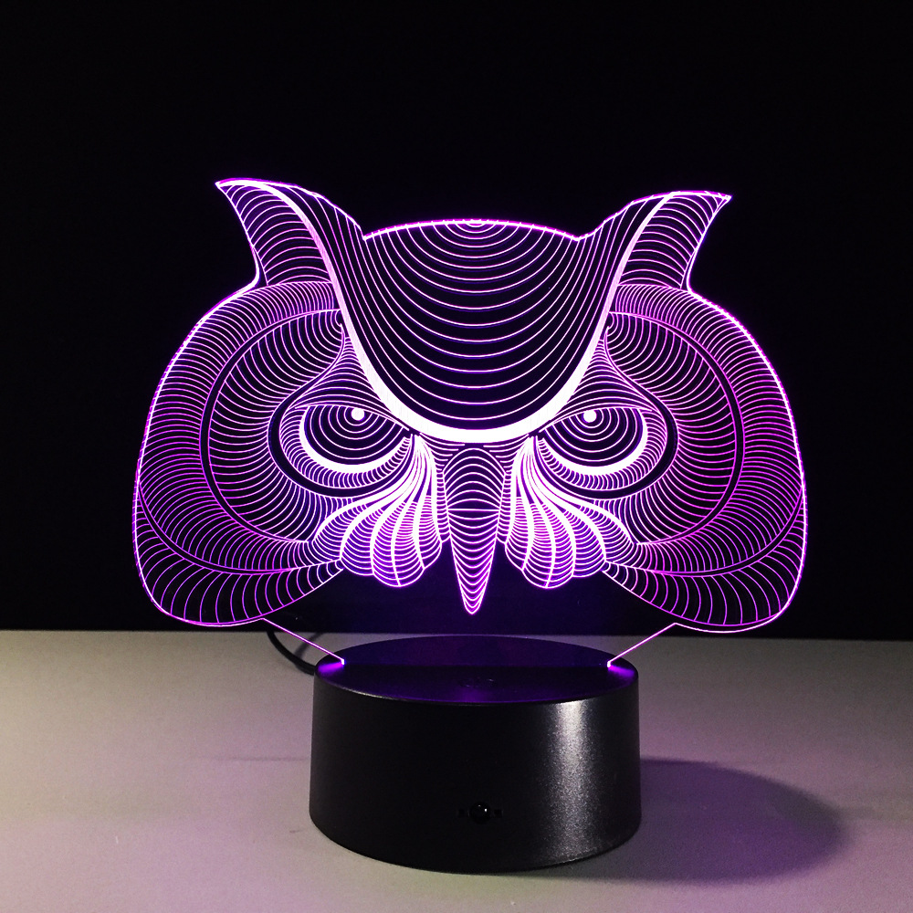 3D Owl Lamp 7 Color Led Night Lamps for Kids Touch Led USB Table ...