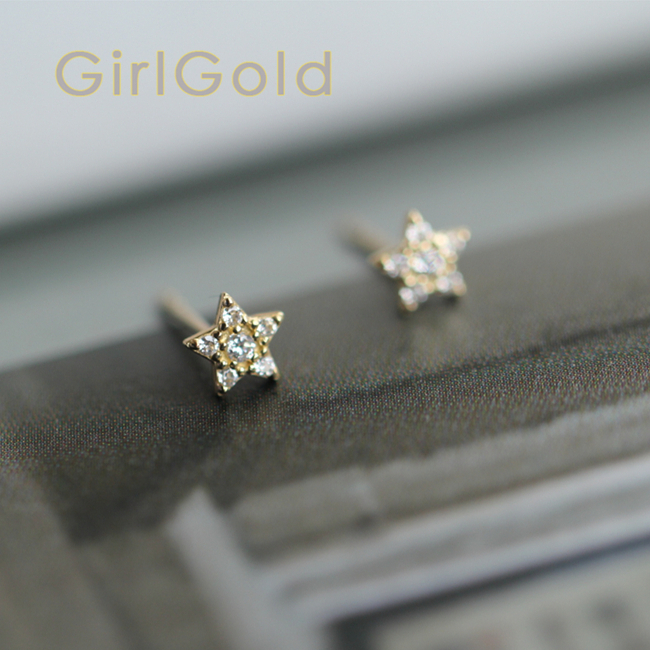 9k Real Solid Gold Stud Stars Drop Crystal Earring Jewelry Simple