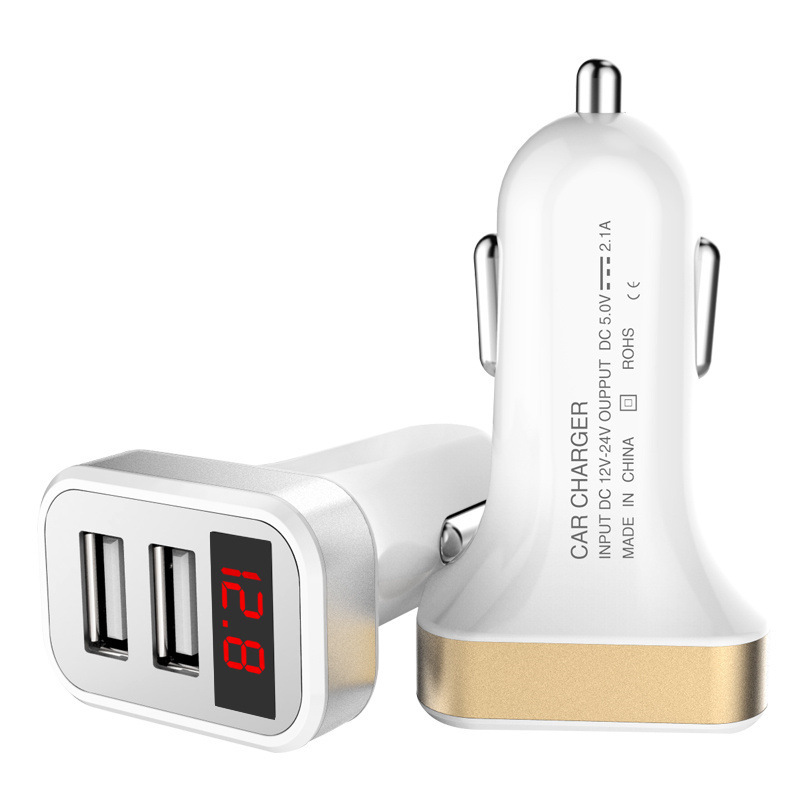 Dual USB LED Display Car Charger For iphone Samsung HuaWei Universal Phone Tablet PC Voltage Monitoring Charging Adapter 5V 2.1A