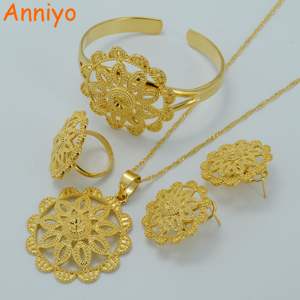 Anniyo Ethiopian Wedding Jewelry sets Gold Color Habesha Set Bridal Jewellery Eritrea Nation Style Accessory #020006