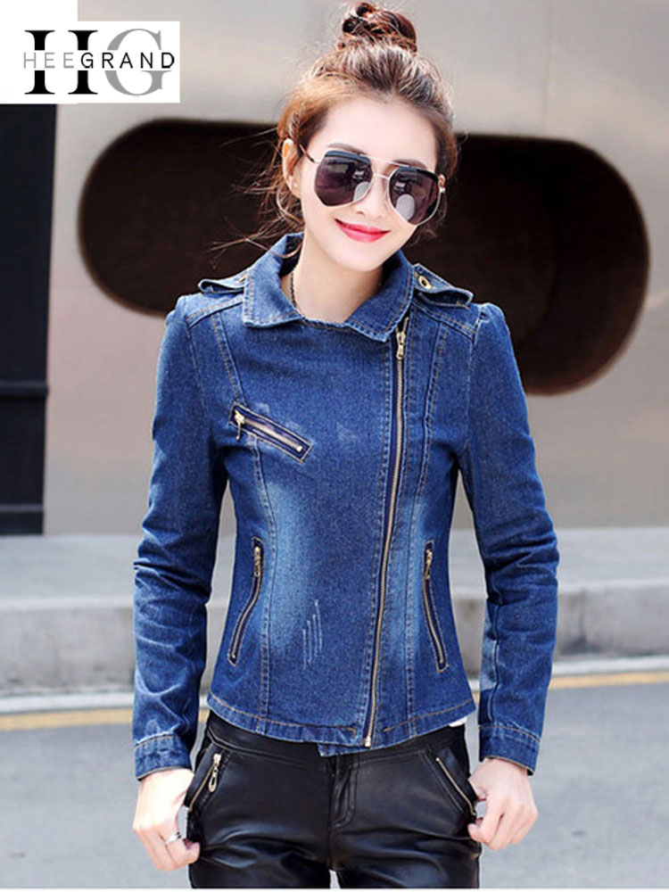 HEE GRAND Jeans   Jacket   Women Casacos Feminino Slim Denim   Jackets     Basic   Autumn Outwears Elegant Ladies Coat S-2XL Dropship WWJ918