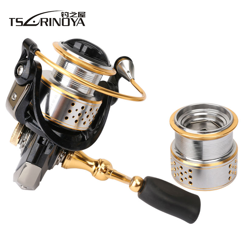 цена на TSURINOYA Fishing Spinning Reel with Spare Spool 5.2:1 8+1BB Saltwater Carp Fishing Reel Carretilha Para Pesca Spinning Wheel
