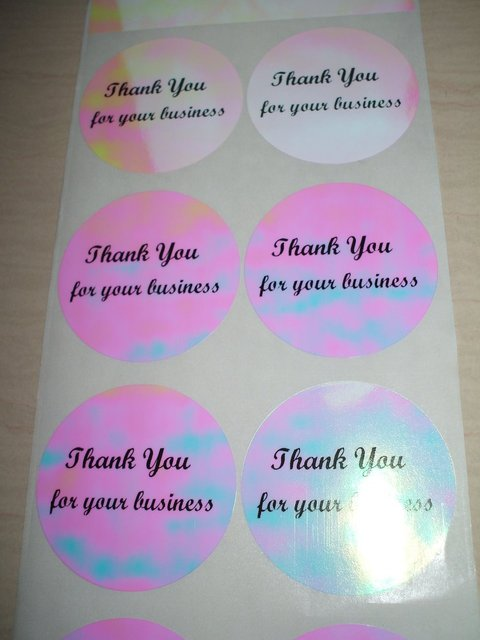 Free shipping 25 pcs pink hologram thank you for your business stickers labels tag waterproof decal