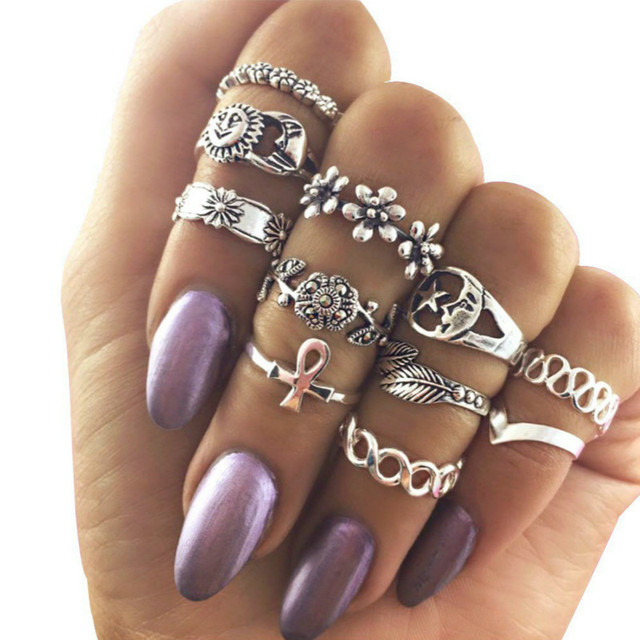Bohemia new flower alloy leaves 11 sets of rings hollow moon sets tail ring Stai