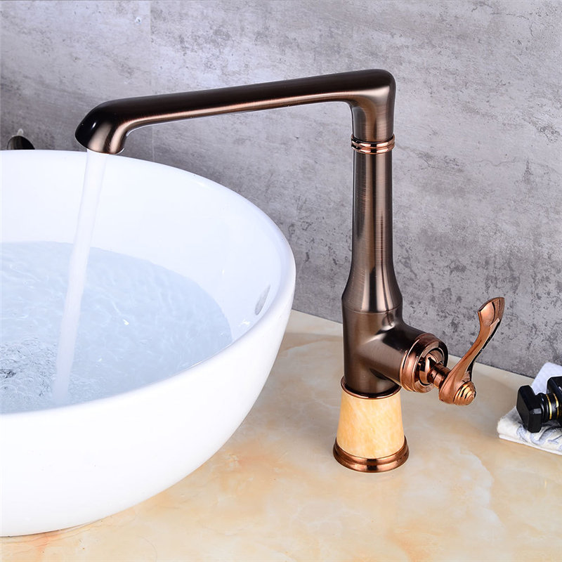 цена Kitchen Faucet Black Oil Brushed Brass Kitchen Faucet Deck Mounted Single Hangle Sink Mixer Tap Cold Hot kitchen faucet Torneira