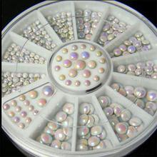 DIY nail art decorations Wheel wihte AB crystal metal Nail Glitter Rhinestones Tools