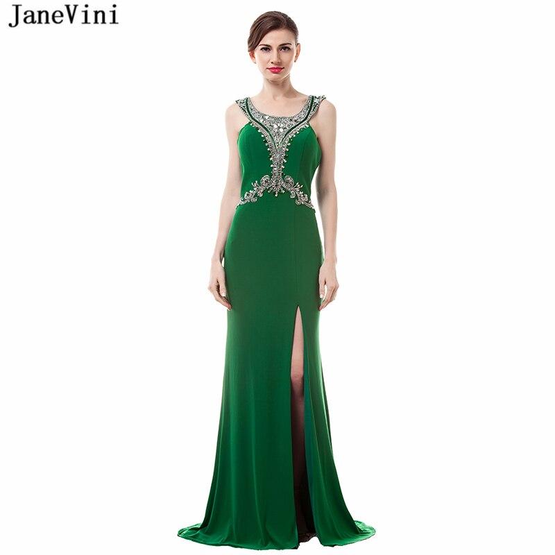 JaneVini 2018 Vintage Green Long   Bridesmaid     Dresses   Scoop Neck Beading High Split Backless Sweep Train Africa Mermaid Prom Gowns