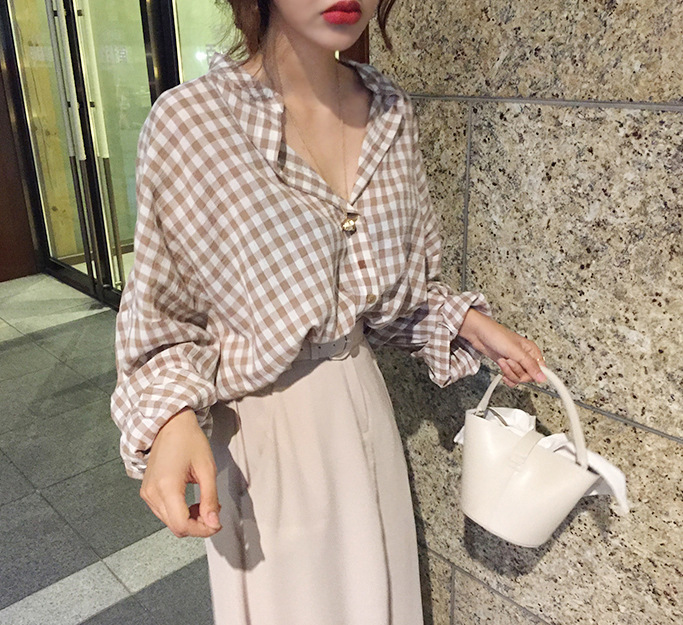 Women's Autumn Plaid T-Shirt Large Size Top wind coat loose цена 2017