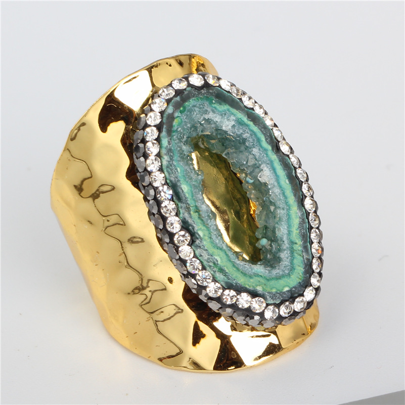 Luxury Jewelry Green Rough Raw Geode Crystal Semi Precious Stone Rhinestone Gold Color Hammered Adjustable Open Ring Unisex Men