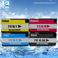 4 Color 1set Compatible HP711 HP711XLBK Ink Cartridge For T120 T520 Printer