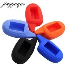 Jingyuqin m7/m8/m9 silicone caso para scher khan magicar 7/8/9/10/11/12 101 lcd em dois sentidos sistema de alarme de carro lcd chave capa