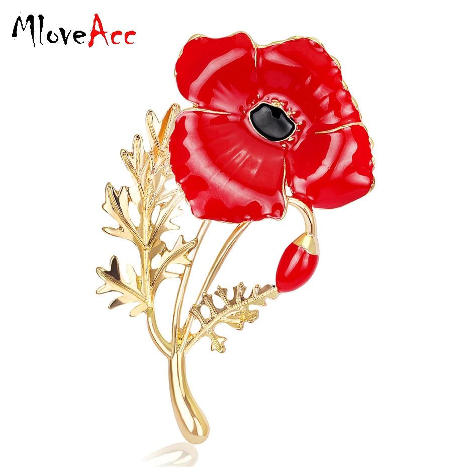 MloveAcc Boda Roja Amapola Flor Broches Prendedores Joyería de moda Broches Kate Princesa Memorial Broches de esmalte para mujeres