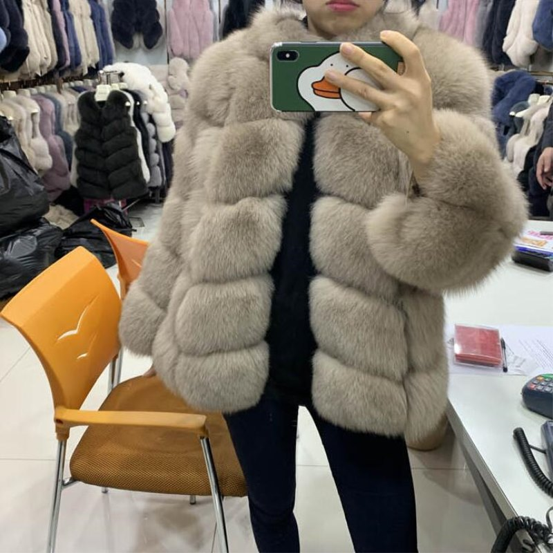 REROYFU Real Natural Fur Jacket Overcoat Genuine Fox Fur Leather Fur Coat Women's Winter Thick Fur Outerwear Custom Any Colors