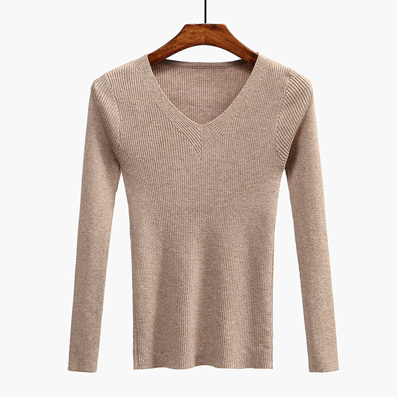 V-Neck Women Sweater Slim Sexy Pullover 2020 New Autumn Winter Tops Women Knitted Pullovers Long Sleeve Shirt Female Brand