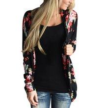 Women Outwear Boho Irregular Long Sleeve Wrap Cardigans Autumn 2016 Casual Loose Floral Print Basic Coats Tops Casacos Plus Size