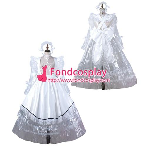 Soubrette pvc transparent robe verrouillable Uniforme cosplay costume Sur Mesure [G2205]