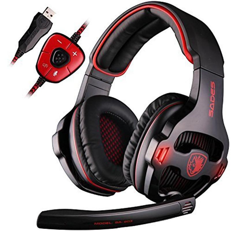 SADES SA-903 High-Performance 7.1 USB PC Headset Deep Bass Gaming Headphones With LED Micphone For PC Gamer