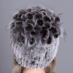 Image 3 - Women fur hat for winter natural rex rabbit fox fur cap russian female fur headgear 2018 brand new fashion warm beanies cap