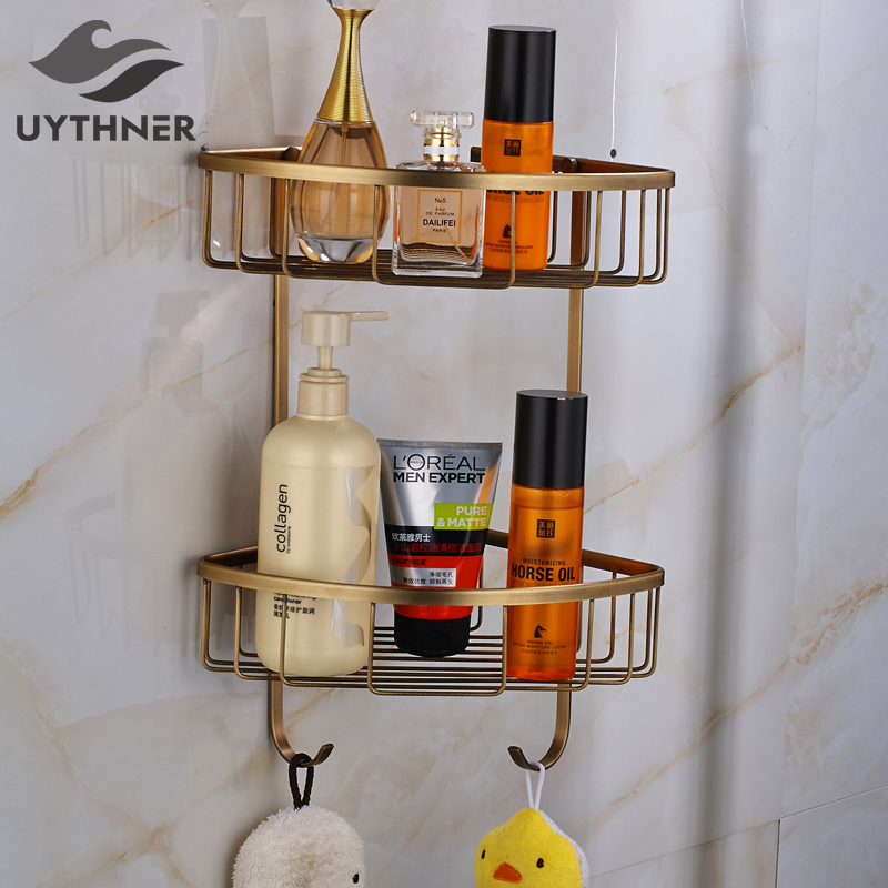 Free Shipping Bathroom Shelf Solid Brass Towel Hook Storage Holder Wall Mounted free shipping wall mounted space aluminum black golden paper towel shelf phone toilet paper holder