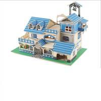 117Pcs Lot Educational Toys 3D Wooden Blue Villa Model DIY House Model Pastoral Hut Wooden Stitching