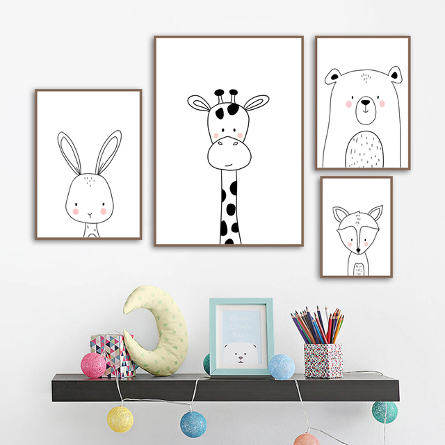 Giraffe Rabbit Bear Fox Nursery Art Prints  2