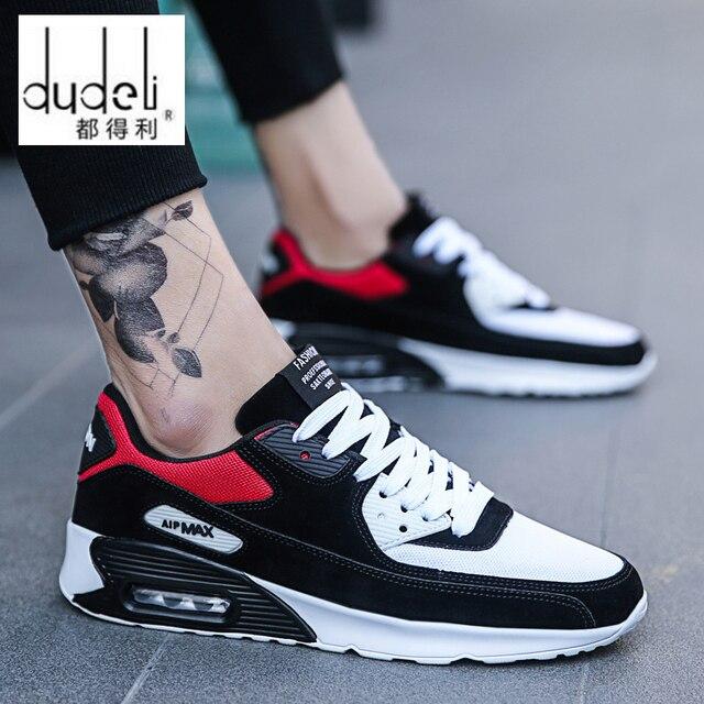 Zapatos para correr para hombre, almohadón de aire, cómodos y transpirables, con cordones para adultos, estabilidad al aire libre, zapatillas para correr, tamaño máximo 39-47