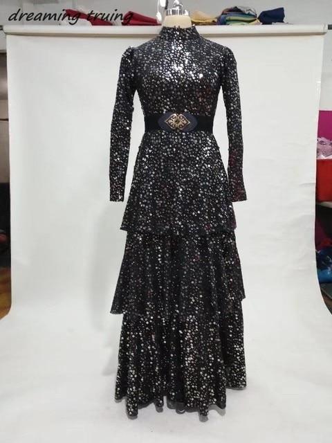 2018 Islamic Long Sleeves Black Evening Gowns With Sashes Arabic Dubai  Kaftan Muslim Women Formal Prom Gowns Robe Longue Soiree 9068fec14d5c
