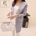 2016 Spring and Autumn new long cardigan Autumn new Korean temperament Slim pocket knit sweater coat shawl female
