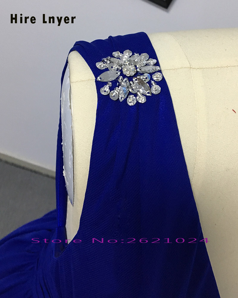 HIRE LNYER Custom Made Sexy V neck Backless Pleat Waist Royal Blue ...