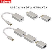 All in 1 Usb C 3.1 Type C To Mini Displayport Dp Adapter Support 4k Male To Female Hdtv Converter Cable VGA HDMI for Macbook Pro usb c to mini displayport adapter type c mini dp male to male cable for macbook 2017 16 15 dell xps
