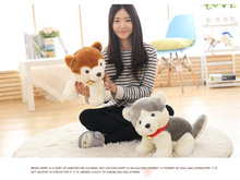a pair of big plush Pomeranian dog toys lovely brown and yellow dog dolls gift about 38cm