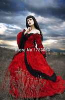 Red Fantasy Renaissance Medieval Fairy Set with Cape/Southern Belle Gown Reenactment Theater Costume