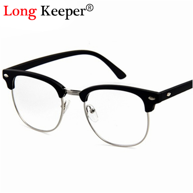 Long Keeper Retro Semi Rimless Eye Glasses Frames men women Optical ...