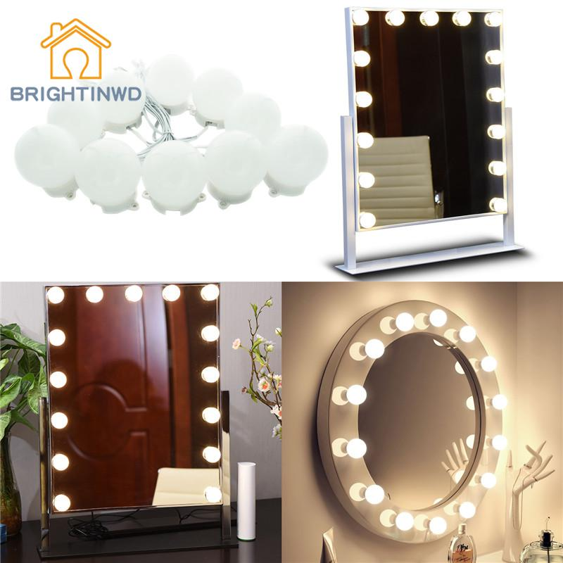 Mirror Vanity 10LEDs Light Bulbs Kit for Dressing Table with Dimmer and Power Supply Plug in Linkable Mirror Modern Holiday hollywood style makeup mirror vanity led light bulb kit for dressing table with dimmer power supply plug in linkable ac 100 240v