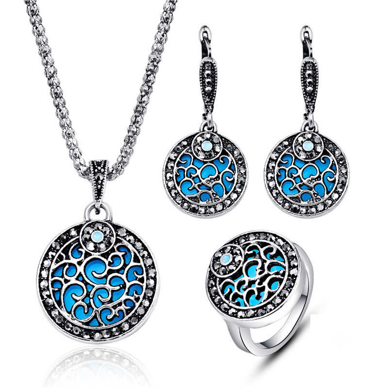 Vintage Charming Jewelry Sets For Women Antique Silver Color Black Crystal Hollow Out Disc Pendant Necklace Earrings Ring Sets