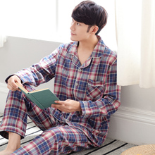 Пижама Мужская плед наборы пижамы трикотажные хлопковые пижамы костюм мужские с длинными рукавами и отложным воротником Пух воротник пижамы комплект A9052