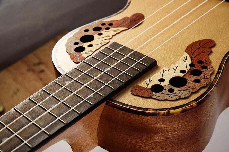 SevenAngel 26 pouces ténor ukulélé Ingrid épicéa Style raisin trou sonore 4 pique Mini guitare acoustique électrique Ukelele pick-up EQ - 4