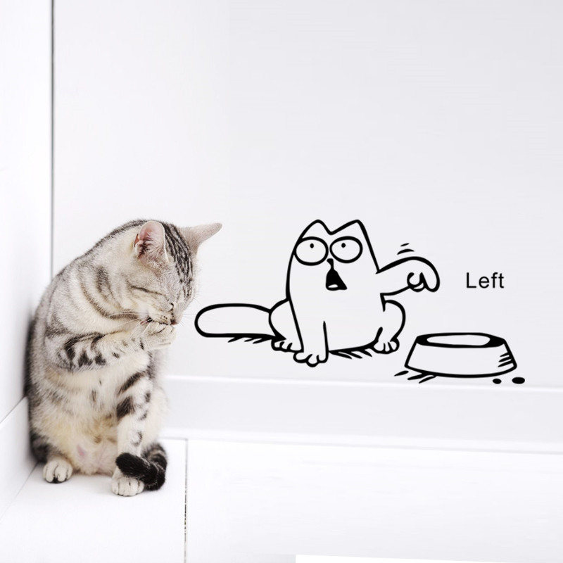 Funny Cartoon Cat vinyl Car laptop window tank wall sticker Bowl Cat Decal stickers Decals Wallpaper